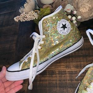 Gold Sequin Sparkly Converse High Tops 🤩